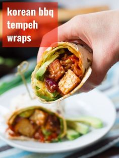 Spicy, saucy, pan-fried Korean barbecue tempeh is stuffed into warm tortillas with creamy avocado slices and crispy greens to make these flavorful vegan wraps. Perfect for lunch, easy enough for a weeknight dinner, and totally delicious! #veganrecipes #tempeh #koreanbbq Vegan Sandwich Recipes, Tofu Recipes, Vegan Dinner Recipes, Wrap Recipes, Delicious Vegan Recipes, Asian Recipes, Healthy Recipes, Vegan Sandwiches, Panini Sandwiches