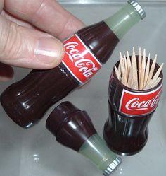 Kitchen Coca Cola Coke Bottle TOOTHPICK HOLDER with SEALED TOOTHPICKS   MINT