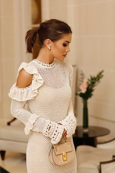 CAMILA COELHO in Magda Butrym crochet dress