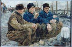 Paul Rink Drie oude Volendammers aan de havenkant, 1902  Volendam (Edam-Volendam), Volendams Museum