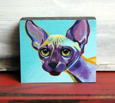 Sphynx Cat - Original Art Block Print - by Corina St. Martin by MyBeautifulCreatures on Etsy https://www.etsy.com/listing/220077645/sphynx-cat-original-art-block-print-by
