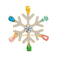 Snowflake large rhinestone crystal collarlapel pins and brooches for women suit dress wedding