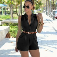 Hot Summer Rompers - Sleeveless (S - 2XL) Item Type: Jumpsuits & Rompers Gender: Women Fit Type: Skinny Decoration: Button Pattern Type: Solid Style: Fashion Type: Playsuits Brand Name: None Fabric Ty