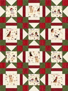 Such an adorable sweet quilt kit with all these different puppy dogs ready for you to sew together into a beautiful Christmas quilt. Our quilt kit has two block