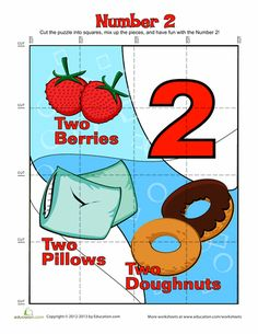 """Worksheets: Number """"Two"""" Puzzle"""