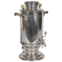 Silver and Ivory Samovar 13.5 inches tall (35 cm)  From a unique collection of antique and modern serving pieces at https://www.1stdibs.com/furniture/dining-entertaining/serving-pieces/