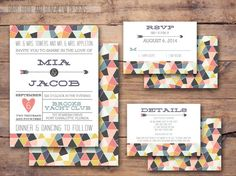 Geometric wedding invitation with response by BabyBrideandBungalow
