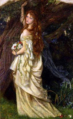Ophelia 1865 by Arthur Hughes Portrait Woman Figure Tree Print Poster 24x36