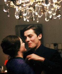 alain delon & romy schneider at home in France, 1959