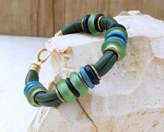 Blue Green Soft Leather Bracelet, Goat Leather Bangle with Mint Turquoise Blue Beach Glass and Ceramic Discs, OOAK, $ 56.00