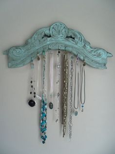 Antique Chair Top Jewelry Organizer, Storage, Display, Painted, Repurposed a DIY idea to up cycle