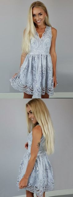 Shop silver homecoming dresses,v-neck homecoming dresses,lace homecoming dresses,short prom dresses on simibridal, affordable price and good quality. Lace Homecoming Dresses, Hoco Dresses, Dance Dresses, Pretty Dresses, Casual Dresses, Girls Dresses, Dress Prom, Formal Dresses, Ladies Dress Design