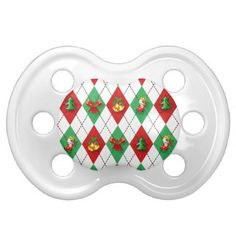 Argyle Red and Green Christmas Pacifier - diy cyo personalize design idea new special