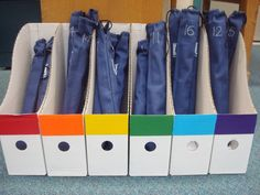 Organized Chaos: Teacher Tuesday: recorder storage solution. Use magazine holders, color coded for small groups of students. Label recorder cases with student numbers. Organize recorders to reduce set up and clean up time!