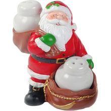 Jogo de Saleiro e Pimenteiro Natalinos Papai Noel Saco Santini Christmas