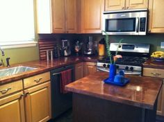 Copper covered countertops