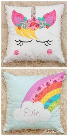 Unicorn Dreams Pillow Set PDF Pattern Unicorn Dreams Applique Pillow set Pattern by Tied with a Ribbon unicorn pillow. Applique Cushions, Patchwork Cushion, Sewing Pillows, Unicorn Cushion, Unicorn Pillow, Baby Pillow Set, Throw Pillow, Unicorn Crafts, Unicorn Pattern