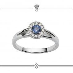Bague diamants et saphirs ronds taille brillants - Or blanc 750/1000 - 18 carat gold