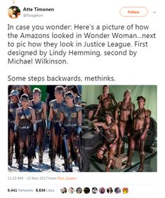 .The costumes in WW were historically accurate and functional. The costumes in JL were wank material