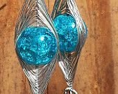 Handmade cracked crystal wire-wrapped earrings by Texas Sunshine Jewelry on Etsy - $6.99