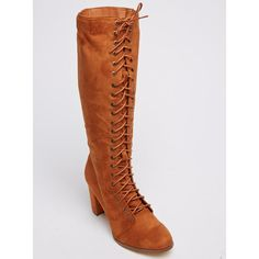 Lace-up Knee-length Boots Camel