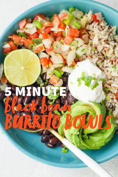 Beans and rice are a classic combo. These Black Bean Burrito Bowls are affordable, packed full of balanced nutrition, easy-to-make, and über tasty! #burritobowls #blackbeans