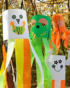 """A skull, a monster, a ghost and a pumpkin.each one a """"breeze"""" to construct! I love projects tha. Fall Arts And Crafts, Halloween Arts And Crafts, Summer Crafts, Crafts To Do, Kid Crafts, Holidays Halloween, Halloween Fun, Halloween Decorations, School Holidays"""