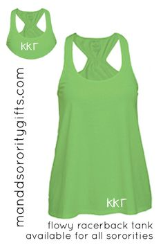 Kappa Kappa Gamma Tank Top I Greek Letters I Green http://manddsororitygifts.com/kappa-kappa-gamma-store/