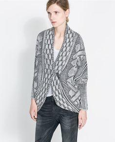 jblumes's save of JACQUARD WRAP - AROUND CARDIGAN - Knitwear - Woman   ZARA United States on Wanelo