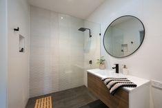Contemporary light filled bathroom - walk in shower, timber vanity, contrasting black tapware. Interior Designers Melbourne, Timber Vanity, Walk In Shower, Building Design, Architecture Design, Contemporary, Bathroom, House, Furniture