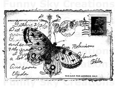 Butterfly Postcard Vintage Poster - Burlap Digital Download Paper Word Typography Image Transfer To Cushion Pillows Tea Towels b553. $1.00, via Etsy.