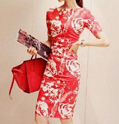 women dresses 2014 new fashion summer women dress boat neck red/black knee-length flower print dress s-xxl $18.67