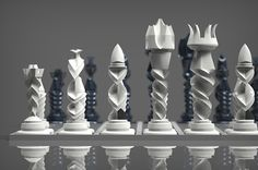 шахматы Contorsione on Behance Modern Chess Set, Chess Set Unique, Grandmaster Chess, Art Through The Ages, 3d Printing Diy, Chess Table, Clinic Design, 3d Prints, Chess Pieces