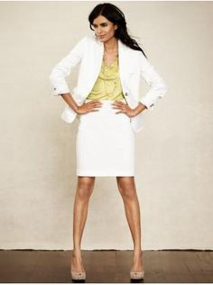 White Suit. Make a professional statement by wearing a chic white suit. This look is authoritative and easy to mix in with any work or presentation wardrobe. Pair the suit with a colorful blouse for a truly powerful look. *Warning* Not all white suits are created equal: be sure to find one that fits you, flatters you, and isn't see through.