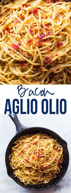 This smoky, spicy and super easy 5 ingredient bacon spaghetti aglio olio recipe is perfect for the bacon lover! Learn how to make this traditional Italian recipe in exactly 20 minutes from start to finish.