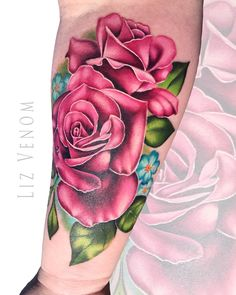 some beautiful pink roses tattooed by Liz Venom from Bombshell Tattoo in Canada   . . . . . . ink tattoos tattoo tattooed edmonton art artist amazing beautiful best floral realism realistic liz venom canada melbourne Australia idea floral botanical vintage classical feminine flash art