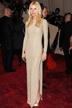 Gwyneth in Stella McCartney: a column gown with uniform stud detailing is made for a statuesque frame.