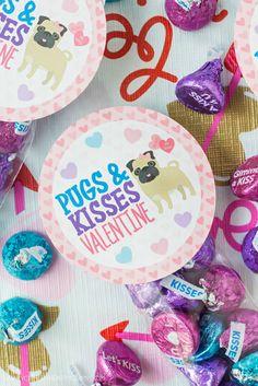 Pugs And Kisses Valentine Treat Bag Printable
