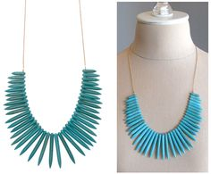 Gold Necklace with Turquoise Spikes