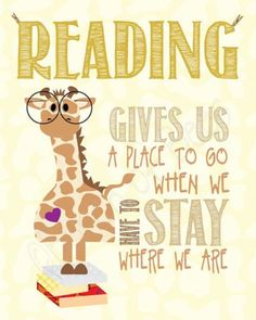 Reading gives us a place to go when we have to stay where we are. #happiness #reading #happy #read #book #books #giraffe