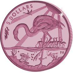 British Virgin Islands 2015 - The Majestic Flamingo - Pink Titanium Coin