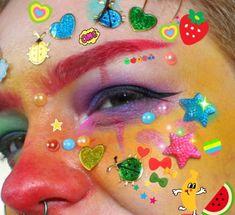 Makeup Inspo, Makeup Art, Makeup Inspiration, Hair Makeup, Clown Makeup, Cute Makeup, Makeup Looks, Cute Clown, Rainbow Aesthetic