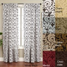 The medallion-flocked design on these stylish 108-inch curtain panels makes a bold statement in any room. The curtains feature a rod pocket to make hanging easy, and come in a variety of colors to make matching your room's color scheme easy.