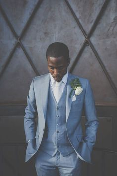 Stylish groom in pale light blue suit, white shirt and tie.  Trinity Buoy Wharf Wedding Light Blue Suit Wedding, Wedding Suits, Blue Wedding, Trendy Wedding, Light Blue Tux, Blue And White Suit, Luxury Wedding, Dream Wedding, Blue Three Piece Suit