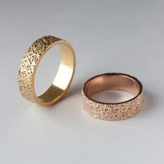 STARDUST Textured Wedding Band set by Arosha Taglia, Rose Gold band, Yellow Gold Band, Wedding Bands, His & Hers Bands