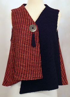 Handwoven Clothing, Vest, Kathleen Weir-West, - Home Sewing Clothes, Diy Clothes, Diy Vetement, Altered Couture, Vest Pattern, Mode Outfits, Clothing Patterns, Clothing Ideas, Sewing Patterns