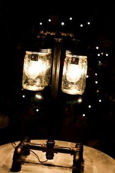 Mason gar and metal pipe table lamp