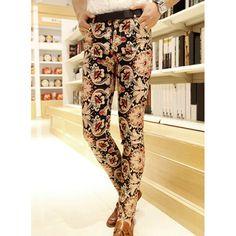 Stylish Retro Pattern Print Sutures Design Slimming Narrow Feet Men's Cotton Pants, COLORMIX, M in Pants | DressLily.com