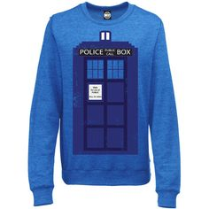 Unofficial Doctor Who Womens Tardis Police Box Sci-Fi Print Sweatshirt... ($37) ❤ liked on Polyvore featuring tops, hoodies, sweatshirts, shirts, sweaters, doctor who, sweatshirt, grey, women's clothing and lightweight sweatshirts