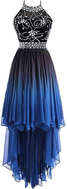486cedcfbf8 HEAR Women s Ombre Halter Crystals Homecoming Gown Hi-Lo Gradient Backless  Chiffon Prom Dresses Hear256 Blue1 0 at Amazon Women s Clothing store